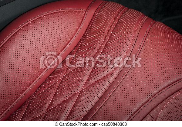 läder, bil, nymodig, lopp, lyxvara, interior., röd - csp50840303