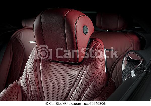 läder, bil, nymodig, lopp, lyxvara, interior., röd - csp50840306