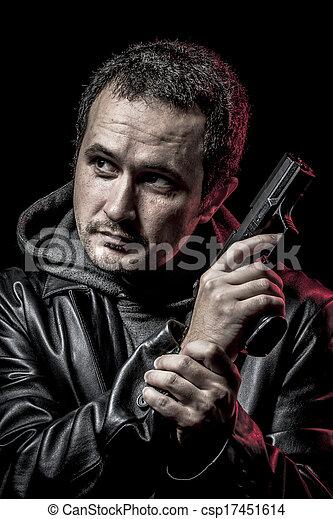 läder, farlig, tjuv, svarting skyddsomslag, beväpnat, man - csp17451614