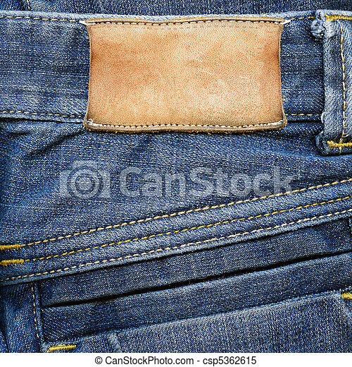 läder, grungy, jeans, etikett - csp5362615