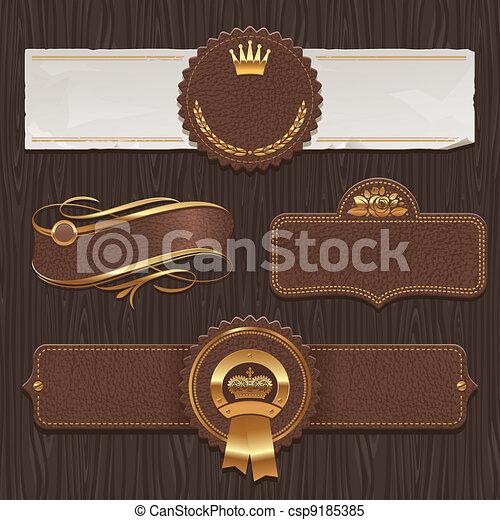 läder, gyllene, etiketter, &, inramat - csp9185385