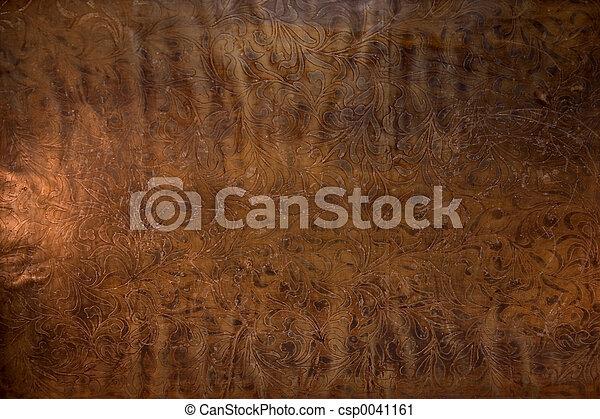 läder, präglat, gammal - csp0041161
