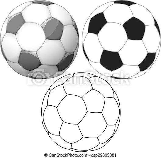 lägenhet, boll, färg, bläck, fotboll, packe - csp29805381