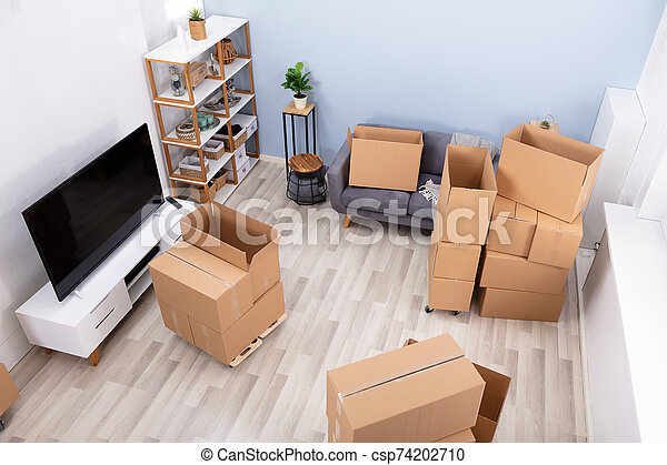 lägenhet, kartong kassera, tom - csp74202710