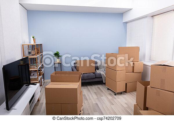 lägenhet, kartong kassera, tom - csp74202709
