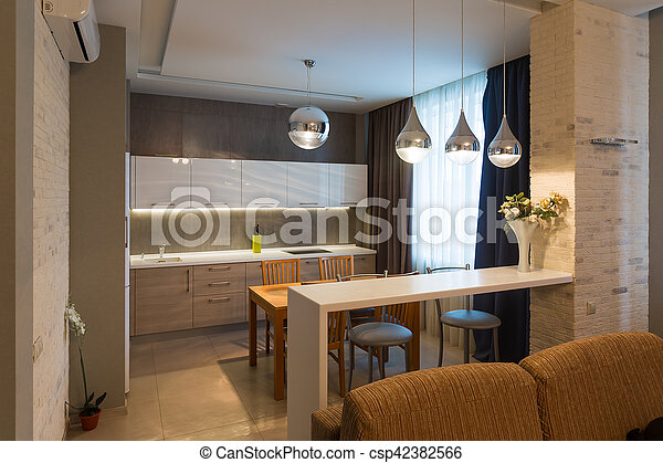 lägenhet, nymodig, lyxvara, inre, nytt hem, kök - csp42382566