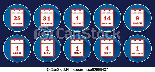 lägenhet, olik, sätta, ikonen, illustration, vektor, kalender, helgdag, sidor, dadeln, stil - csp62998437