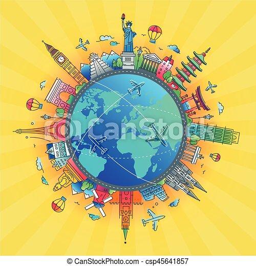 lägenhet, omkring, resa, -, design, värld, komposition - csp45641857