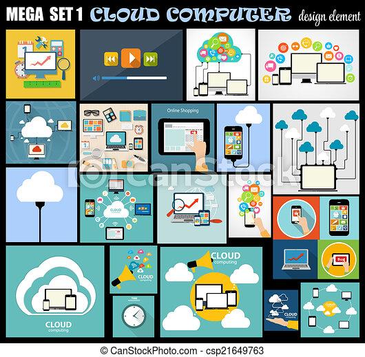 lägenhet, sätta, dator, mega, illustration, vektor, design - csp21649763