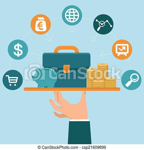lägenhet, stil, begrepp, service, bankrörelse, vektor - csp21609899