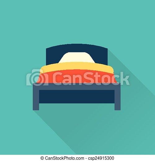 lägenhet, vektor, säng, ikon - csp24915300