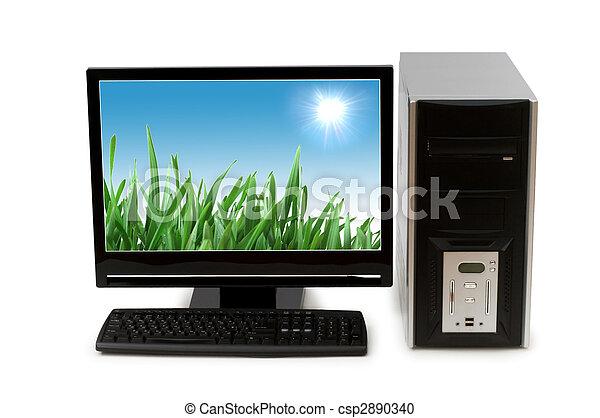 lägenheten avskärmar, dator, isolerat, vit - csp2890340