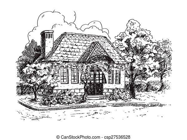 Landlich Farmhouse Altes Landschaftsbild Vektor