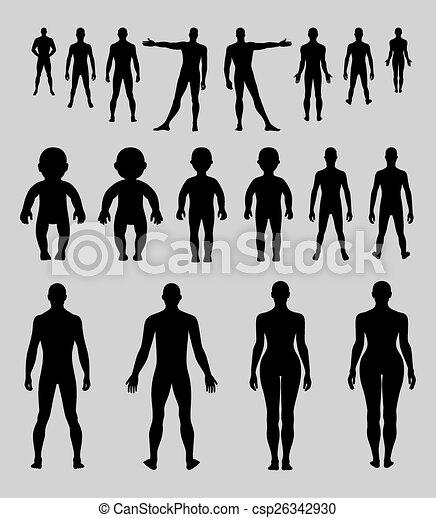 Länge, voll, front, mensch zurück. Voll, silhouette, menschliche ...