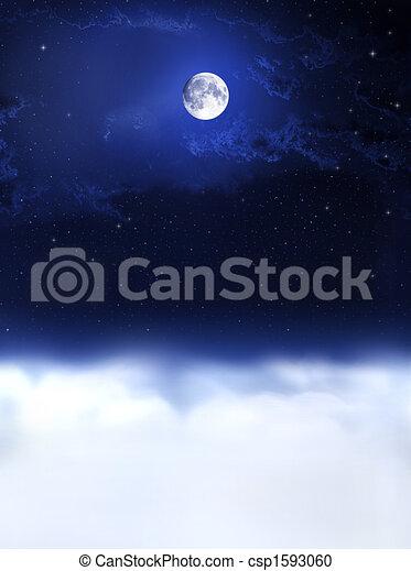 lätt, dreams..., måne, natt - csp1593060