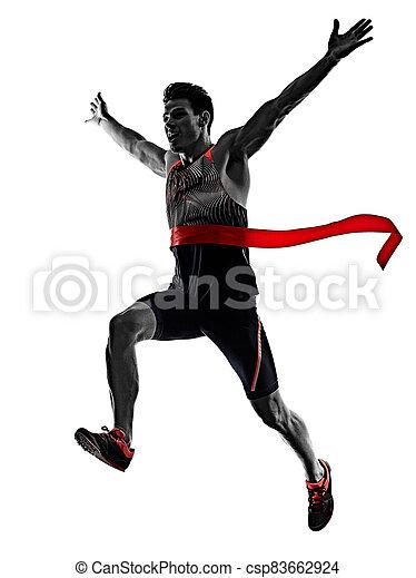 läufer, athletik, junger, hintergrund, freigestellt, sprinten, rennender , mann, sprinter, weißes - csp83662924