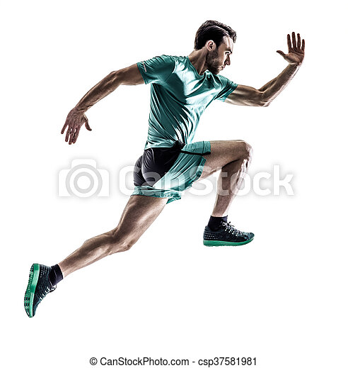 läufer, jogger, rennender , freigestellt, mann - csp37581981