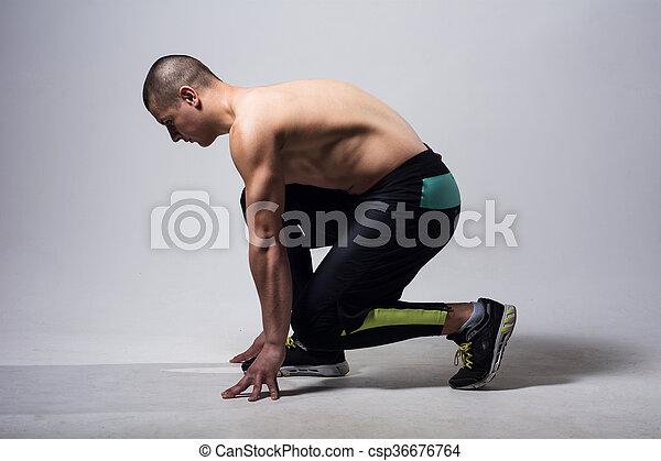 läufer, jogger, rennender , freigestellt, mann - csp36676764