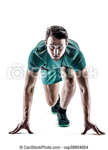 läufer, jogger, rennender , freigestellt, mann - csp38804654