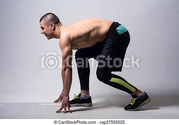 läufer, jogger, rennender , freigestellt, mann - csp37555525
