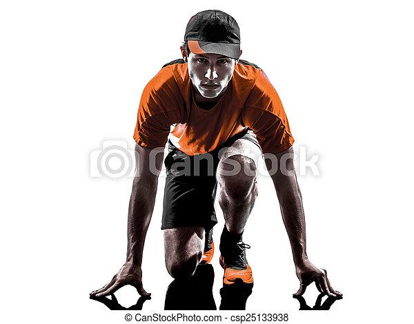 läufer, jogger, silhouette, mann - csp25133938
