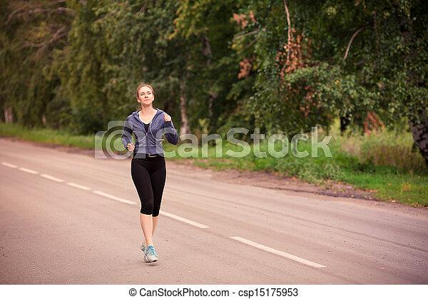 läufer, jogging, frau, draußen, natur - csp15175953
