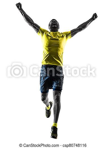 läufer, jogging, glücklich, hintergrund, freigestellt, bemannen lauf, jogger, silhouette, weißes - csp80748116