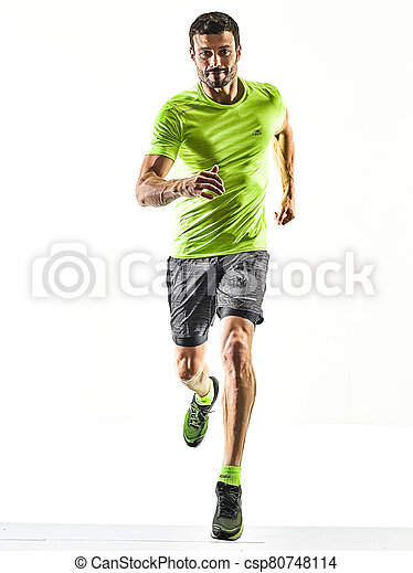 läufer, jogging, hintergrund, freigestellt, bemannen lauf, jogger, silhouette, weißes - csp80748114