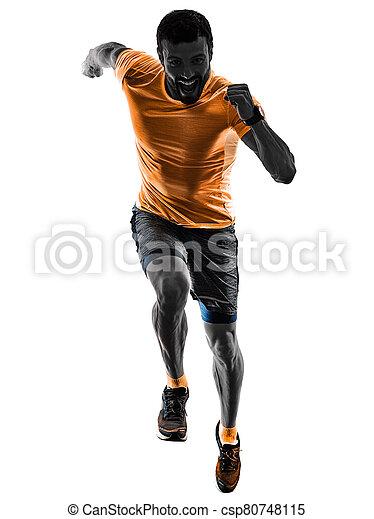 läufer, jogging, hintergrund, freigestellt, bemannen lauf, jogger, silhouette, weißes - csp80748115