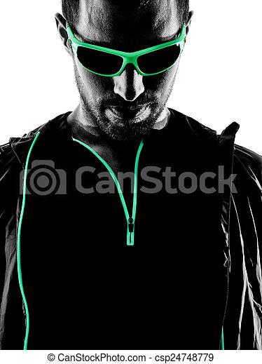 läufer, porträt, mann, silhouette, jogger - csp24748779