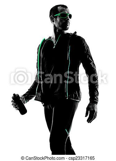 läufer, porträt, mann, silhouette, jogger - csp23317165
