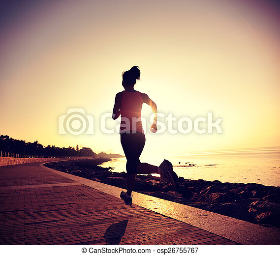 läufer, rennender , frau, junger - csp26755767