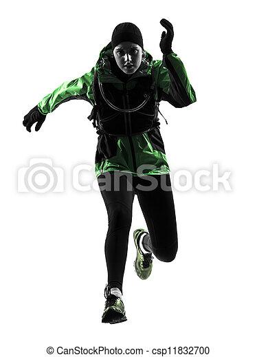läufer, rennender , frau, silhouette, trecken - csp11832700