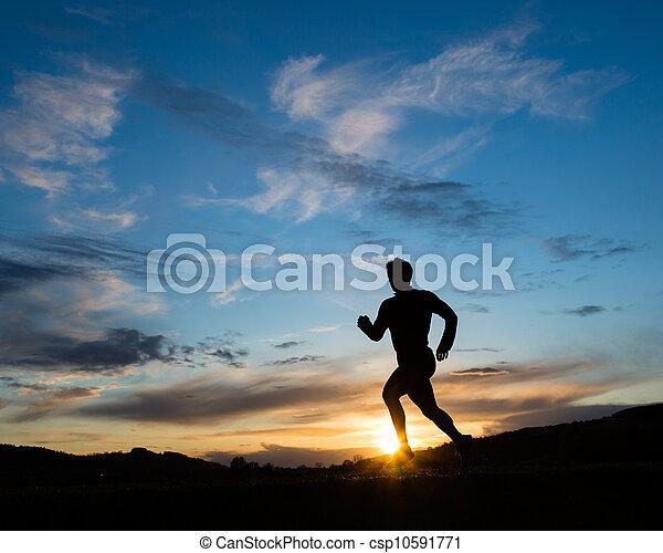 Silhouette von Läufer - csp10591771