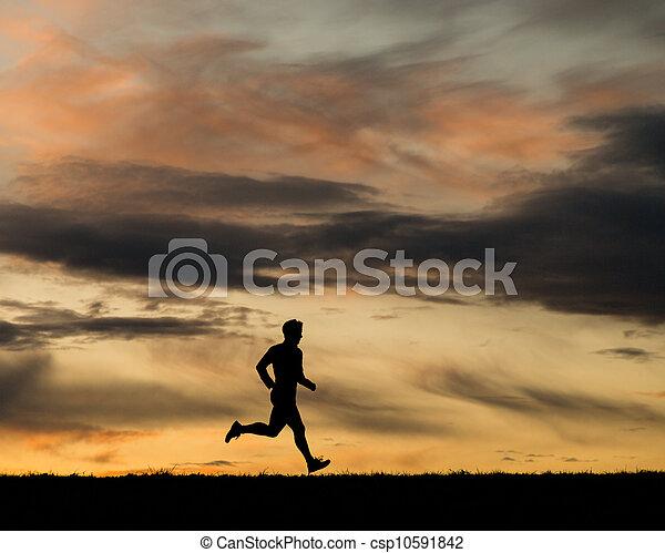 Silhouette von Läufer - csp10591842