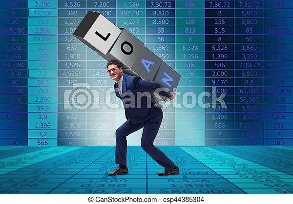lån, mand, byrde, under - csp44385304