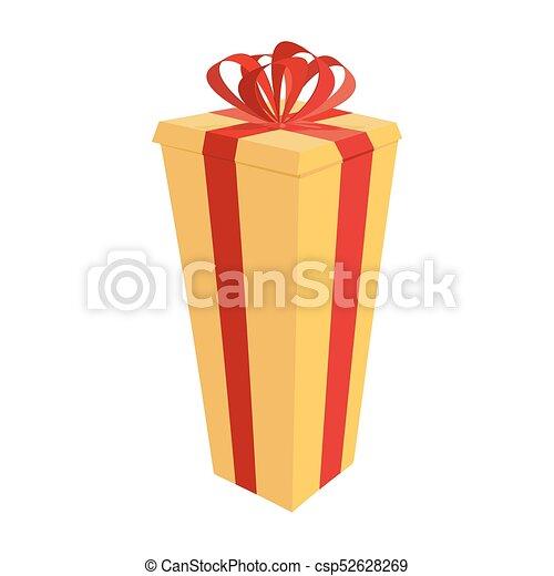 lång, box., gåva, festlig, stor, illustration, vektor, år, färsk, jul - csp52628269