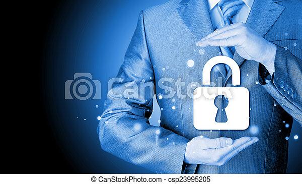 låsa, säkerhet, begrepp, skydda, affärsman - csp23995205