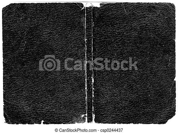 læder, sort, bog bedækk - csp0244437