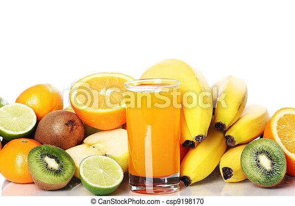 lé, friss gyümölcs, pohár - csp9198170