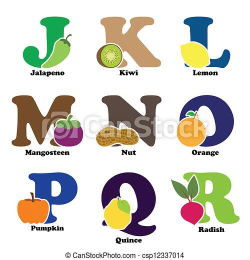 Légume, alphabet, fruit. Alphabétique, vecteur, légumes, j ...