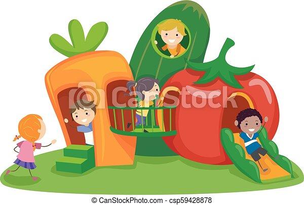 légume, gosses, stickman, cour de récréation, illustration - csp59428878