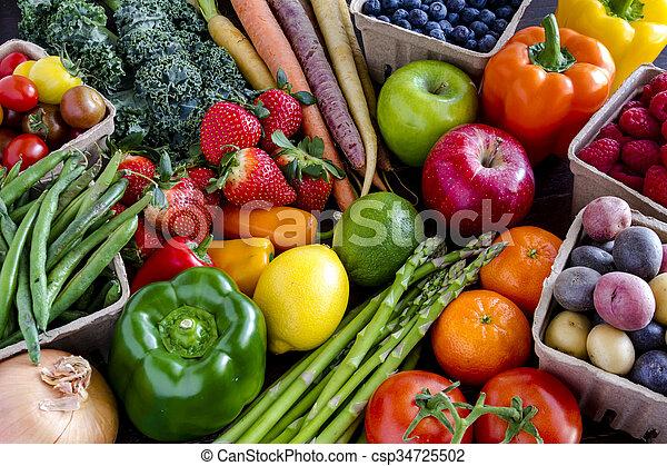 légumes, assorti, fond, fruits - csp34725502