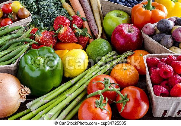 légumes, assorti, fond, fruits - csp34725505