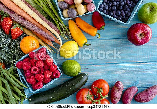 légumes, assorti, fond, fruits - csp34725463