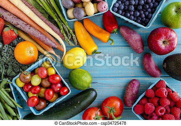 légumes, assorti, fond, fruits - csp34725478