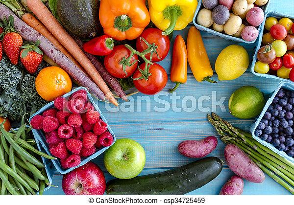 légumes, assorti, fond, fruits - csp34725459