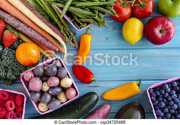 légumes, assorti, fond, fruits - csp34725488