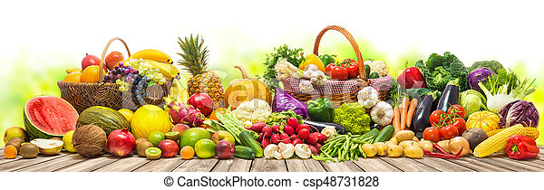 légumes, fond, fruits - csp48731828
