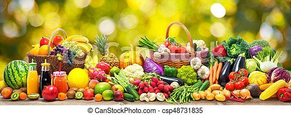 légumes, fond, fruits - csp48731835